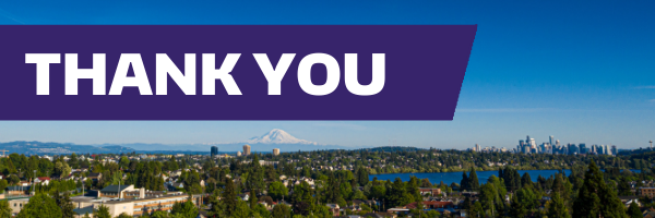 a Purple Thank you with Mount Rainer Background