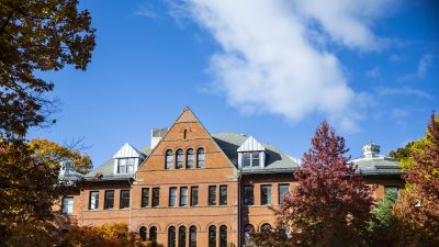 Parrington Hall surrounded by fall foliage